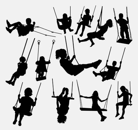 Illustration for swing children male and female silhouette. Good use for symbol, logo, element, sign, mascot, or any design you want. Easy to use. - Royalty Free Image