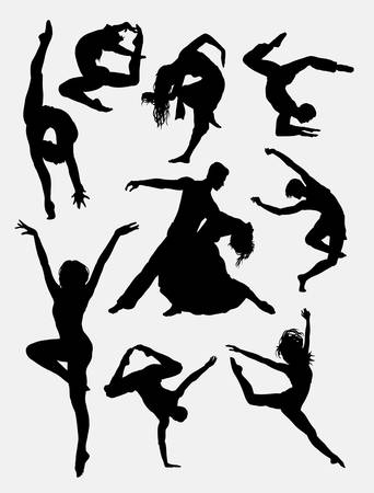 Illustration for Contemporary dance, man and women action silhouette. Good use for symbol, logo, icon, mascot, or any design you want. Easy to use. - Royalty Free Image