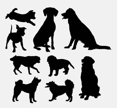 Dog pet animal silhouette 07. Good use for symbol, logo, web icon, mascot, sign, sticker design, or any design you wany. Easy to use