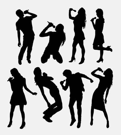 Ilustración de Singer male and female silhouette. - Imagen libre de derechos