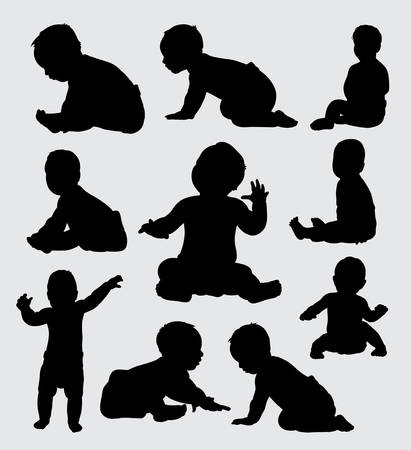 Foto de Baby activity silhouette, good use for symbol, logo, web icon, mascot, or any design you want. - Imagen libre de derechos
