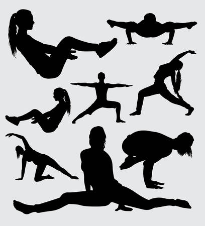 Ilustración de fitness and gymnastic sport silhouette, good use for symbol, logo, web icon, mascot, sticker, sign, or any design you want. - Imagen libre de derechos