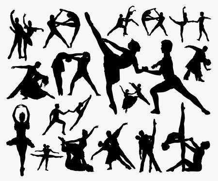 Ilustración de Dance exercise silhouette. Good use for symbol, logo, web icon, mascot, sign, or any design you want. - Imagen libre de derechos