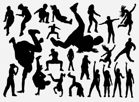 Illustration for Breakdance and hiphop training silhouette for symbol, logo, web icon, mascot, game elements, mascot, sign, sticker design, or any design you want. Easy to use. - Royalty Free Image