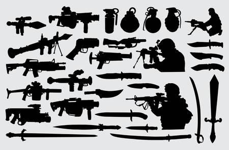 Ilustración de Weapon, gun, knife, sword and soldier. Good use for symbol, logo, web icon, mascot, sign, or any design you want. - Imagen libre de derechos