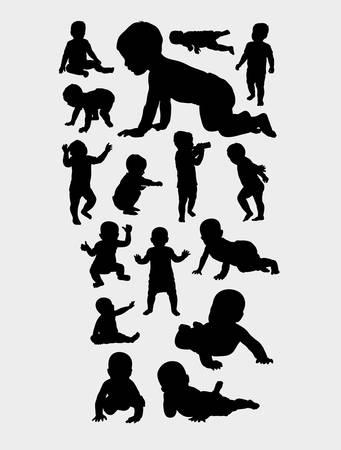 Foto de babies action silhouette, good use for symbol, web icon, mascot, logo, sign, sticker, or any design you want. Easy to use - Imagen libre de derechos