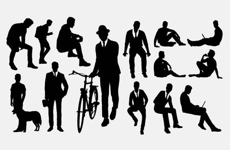 Illustration pour Man action silhouettes. Good use for symbol, logo, web icon, mascot, or any design you want. - image libre de droit