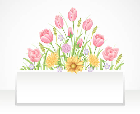 Illustration pour Floral frame colorful and beautiful rose flowers and leaves template decoration. - image libre de droit