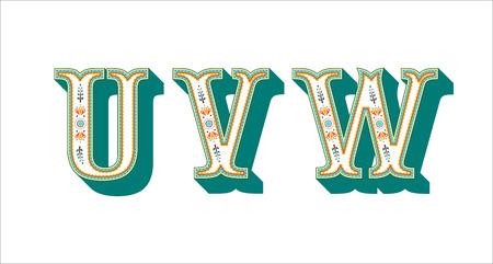 Illustration for folk alphabet ornamental floral letter U V W - Royalty Free Image