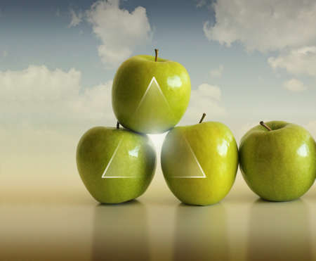 Photo for Abstract conceptual photo of a group of apples supporting each other against modern background - Royalty Free Image