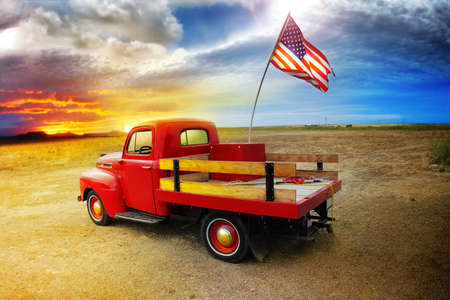 American Vintage Red Truck Mural Wallpaper Thumbnail
