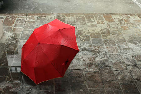Bright red umbrella alone on aged european gray wet streetの写真素材
