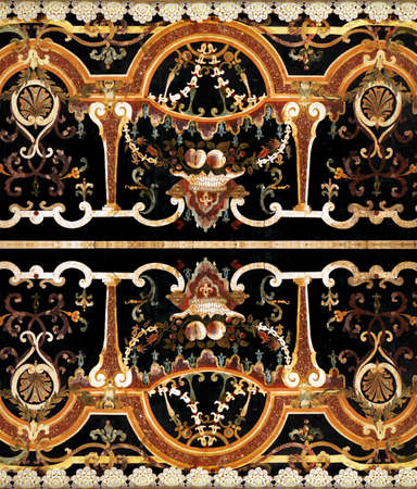 Detail of intricate ornamental marble inlay in Europen cathedral