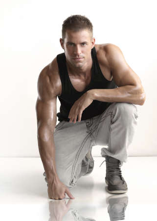 Photo for Portrait of fashionable young caucasian sexy handsome athletic man - Royalty Free Image