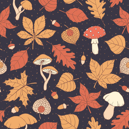 Illustration pour Vector autumn seamless pattern with oak, poplar, beech, maple, aspen and horse chestnut leaves, mushrooms, acorns and physalis on the dark blue dotted background. Usable for wrapping paper, covers, textile, etc. - image libre de droit