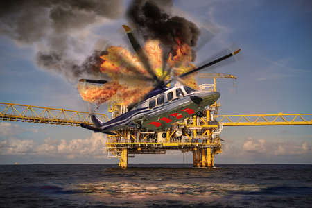 Photo pour Helicopter crashes into the sea in offshore oil and rig industry, north sea location in offshore industry, rescue of accident in the sea. - image libre de droit