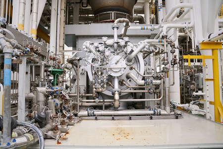 Photo pour Machine turbine in oil and gas plant for drive compressor unit for operation. Turbine working with long time and controlled logic by automation system, machine stand by for maintenance routine job. - image libre de droit