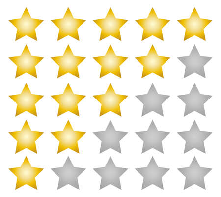 Illustration for Rating stars gradient vector web ranking star signs. Star vector icons on white background. Customer product rating. Sticker and label. - Royalty Free Image