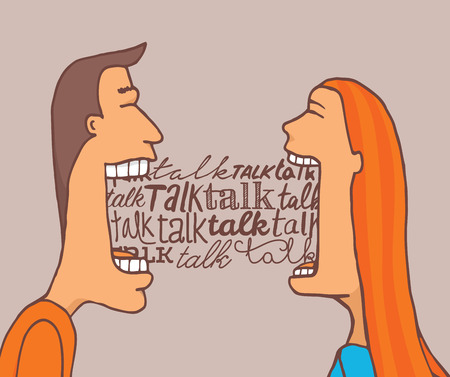 Cartoon illustration of couple talking a lot and sharing a meaningful conversation