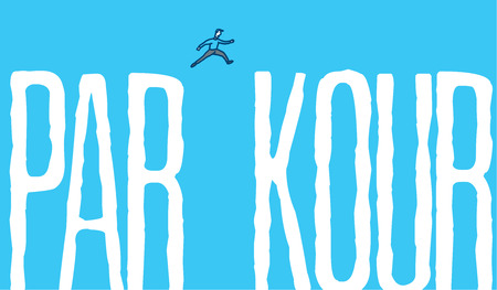 Cartoon illustration of man jumping over gap of parkour word
