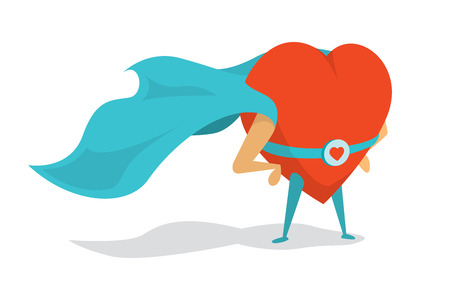 Cartoon illustration of a love super hero heart wearing cape