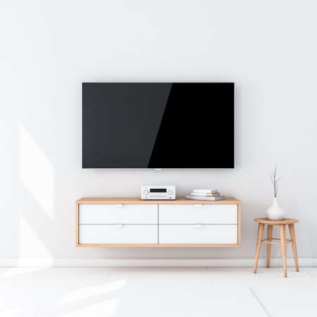 Photo pour Smart Tv Set Mockup with black screen hanging on the wall in modern interior - image libre de droit