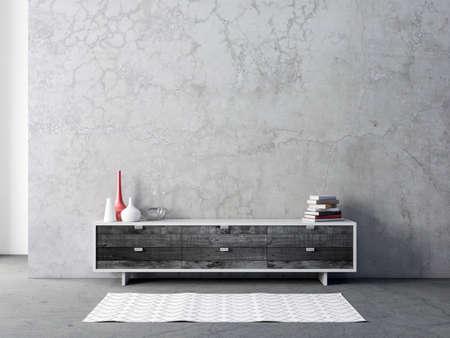 Foto de Modern black bureau or tv console mockup in empty living room - Imagen libre de derechos
