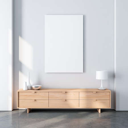 Photo pour Vertical poster canvas mockup in modern interior with oak wooden bureau and decor - image libre de droit