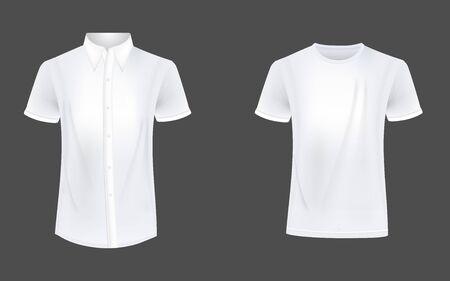 Foto per T-shirt and causual short sleeve shirt mockup vector - Immagine Royalty Free
