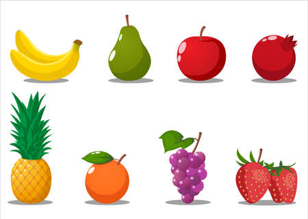 Illustration pour Cartoon Fruits Set. Banana, Pear, Apple, pomegranate, Pineapple, Grapes, Strawberry, Orange. Isolated Vector Illustration. - image libre de droit