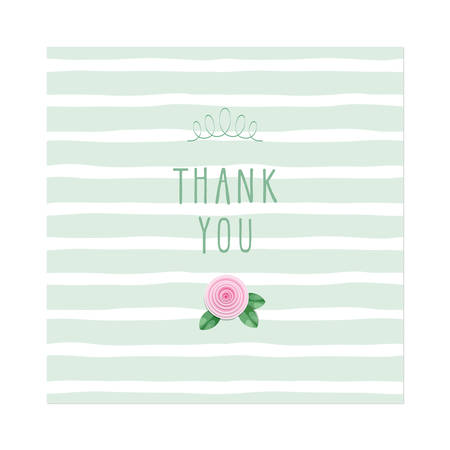 Illustration pour Thank you card. Rose on stripped background template. Vector - image libre de droit