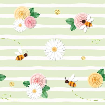 Ilustración de Summer floral seamless pattern. Roses, chamomiles, flying bees on stripped green background. vector - Imagen libre de derechos