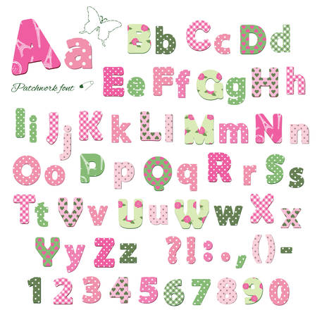 Illustration for Cute textile font. Patterns included under clipping mask. Letters and numbers. - Royalty Free Image