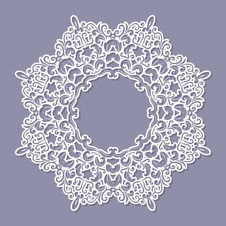 Illustration pour Lacy doily frame. Filligree paper cut out template. Vector - image libre de droit
