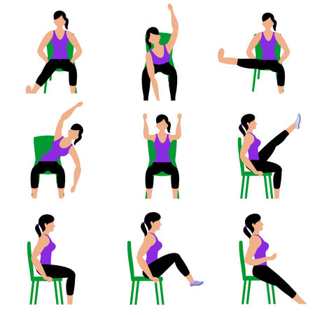 Illustration pour Set of young girls doing exercises in the gym. Beautiful woman doing exercises with chair. Full color flat vector illustration. - image libre de droit