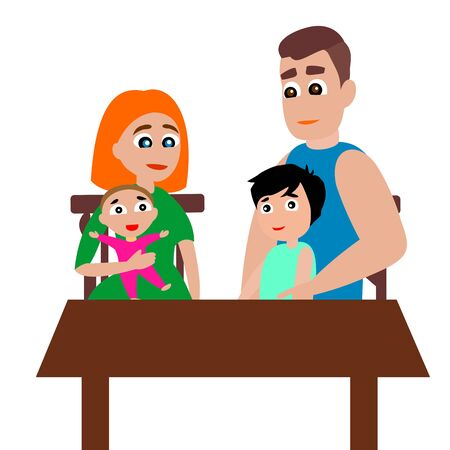 The family sits at the table. Mom, dad, girl and boy. Vector color graphic illustration on white background.
