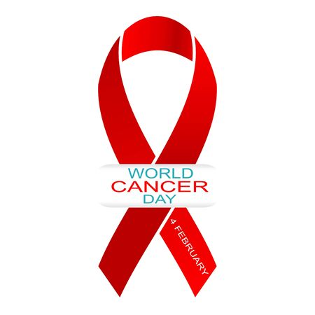 Illustration pour World cancer day 4 february. Vector illustration with red ribbon and text. - image libre de droit