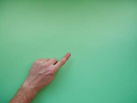 Photo pour Young woman showing gesture on color background. Space for text. top view - image libre de droit
