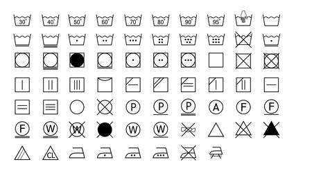 Illustration for Washing symbols label set on white background, vector illustration. - Royalty Free Image