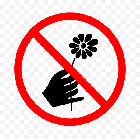 No picking flowers sign on white background, vector illustration.