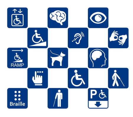 Illustration pour disability icons set - image libre de droit