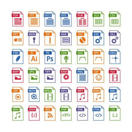 Illustration pour colorful set of file type icons. file format icon set in color, files symbols buttons - image libre de droit