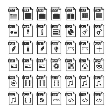 Illustration pour File type icons. Files format icon set in black and white, software symbols buttons - image libre de droit