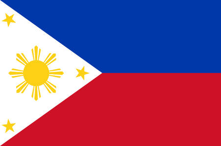 Foto per Philippine national flag. Official flag of The Philippines accurate colors, true color - Immagine Royalty Free