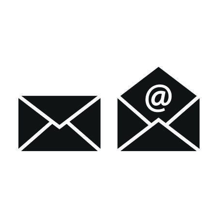 Illustration pour Mail, letter open and closed email sign with at symbol. Envelope black vector icon set. - image libre de droit