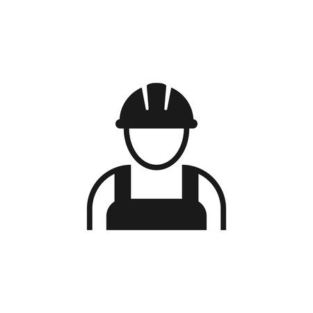Illustration for Worker with hardhat or helmet, construction builder black vector icon. Workman employee contractor symbol. - Royalty Free Image