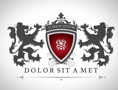 Ilustración de Vintage emblem with lions with a place for Your text  - Imagen libre de derechos