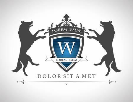 Ilustración de Vintage emblem with wolfs , with a place for Your text  - Imagen libre de derechos