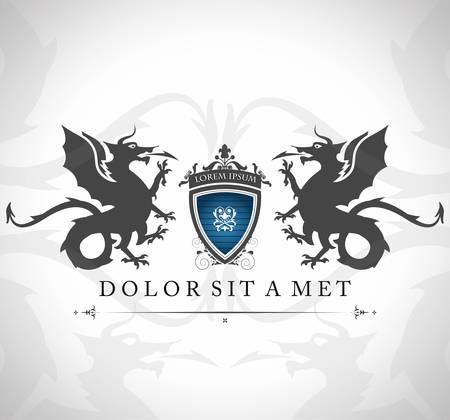 Ilustración de Vintage emblem with dragons with a place for Your text  - Imagen libre de derechos