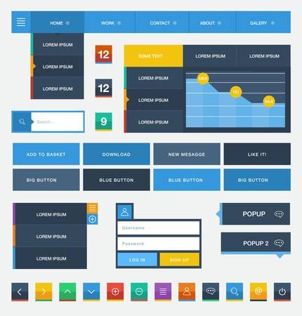 Illustration pour Flat user interface design kit  - image libre de droit